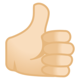 Thumbs Up: Light Skin Tone on Google Android 9.0