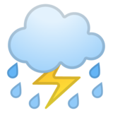 Cloud With Lightning and Rain on Google Android 9.0
