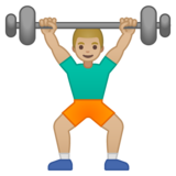 Person Lifting Weights: Medium-Light Skin Tone on Google Android 9.0