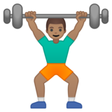 Person Lifting Weights: Medium Skin Tone on Google Android 9.0
