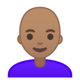 Woman: Medium Skin Tone, Bald on Google Android 9.0