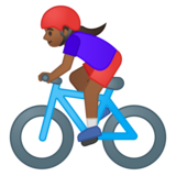 Woman Biking: Medium-Dark Skin Tone on Google Android 9.0