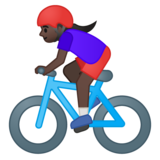 Woman Biking: Dark Skin Tone on Google Android 9.0