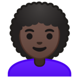 Woman: Dark Skin Tone, Curly Hair on Google Android 9.0
