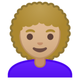 Woman: Medium-Light Skin Tone, Curly Hair on Google Android 9.0