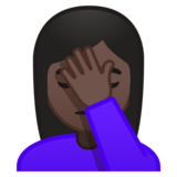 Woman Facepalming: Dark Skin Tone on Google Android 9.0