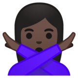 Woman Gesturing No: Dark Skin Tone on Google Android 9.0