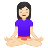Woman in Lotus Position: Light Skin Tone on Google Android 9.0