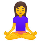 Woman in Lotus Position on Google Android 9.0