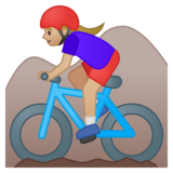 Woman Mountain Biking: Medium-Light Skin Tone on Google Android 9.0