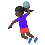 Woman Playing Handball: Dark Skin Tone on Google Android 9.0