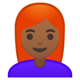 Woman: Medium-Dark Skin Tone, Red Hair on Google Android 9.0