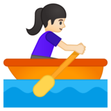 Woman Rowing Boat: Light Skin Tone on Google Android 9.0