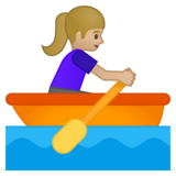 Woman Rowing Boat: Medium-Light Skin Tone on Google Android 9.0