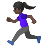 Woman Running: Dark Skin Tone on Google Android 9.0