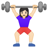 Woman Lifting Weights: Light Skin Tone on Google Android 9.0