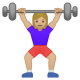 Woman Lifting Weights: Medium-Light Skin Tone on Google Android 9.0