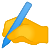 Writing Hand on Google Android 9.0