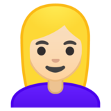 Woman: Light Skin Tone, Blond Hair on Google Android 10.0