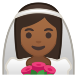 Bride With Veil: Medium-Dark Skin Tone on Google Android 10.0