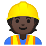 Construction Worker: Dark Skin Tone on Google Android 10.0