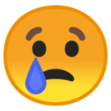 Crying Face on Google Android 10.0
