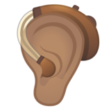 Ear with Hearing Aid: Medium Skin Tone on Google Android 10.0