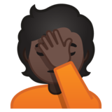 Person Facepalming: Dark Skin Tone on Google Android 10.0