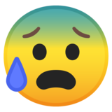 Anxious Face with Sweat on Google Android 10.0