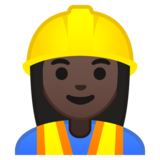 Woman Construction Worker: Dark Skin Tone on Google Android 10.0