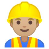 Man Construction Worker: Medium-Light Skin Tone on Google Android 10.0