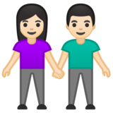Woman and Man Holding Hands: Light Skin Tone on Google Android 10.0
