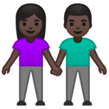 Woman and Man Holding Hands: Dark Skin Tone on Google Android 10.0