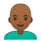 Man: Medium-Dark Skin Tone, Bald on Google Android 10.0