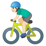 Man Biking: Light Skin Tone on Google Android 10.0