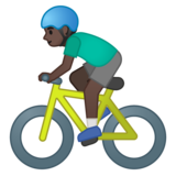 Man Biking: Dark Skin Tone on Google Android 10.0