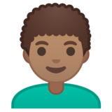 Man: Medium Skin Tone, Curly Hair on Google Android 10.0