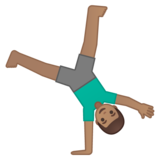 Man Cartwheeling: Medium Skin Tone on Google Android 10.0