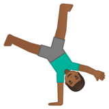 Man Cartwheeling: Medium-Dark Skin Tone on Google Android 10.0