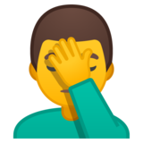 Man Facepalming on Google Android 10.0