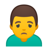 Man Frowning on Google Android 10.0
