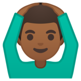 Man Gesturing OK: Medium-Dark Skin Tone on Google Android 10.0