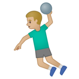 Man Playing Handball: Medium-Light Skin Tone on Google Android 10.0