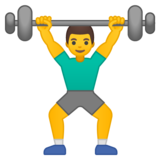 Man Lifting Weights on Google Android 10.0
