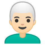 Man: Light Skin Tone, White Hair on Google Android 10.0