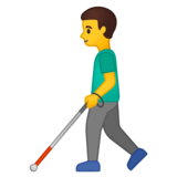 Man with White Cane on Google Android 10.0