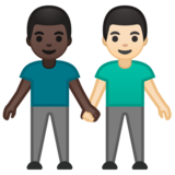 Men Holding Hands: Dark Skin Tone, Light Skin Tone on Google Android 10.0