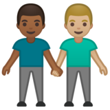 Men Holding Hands: Medium-Dark Skin Tone, Medium-Light Skin Tone on Google Android 10.0