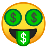 Money-Mouth Face on Google Android 10.0