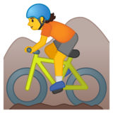 Person Mountain Biking on Google Android 10.0